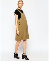 ASOS | Brown Maternity Pinafore Midi Dress In Texture | Lyst