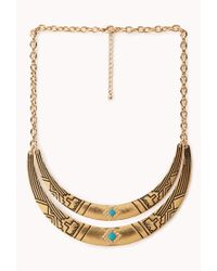 Forever 21 | Metallic Globetrotter Curved Bib Necklace | Lyst
