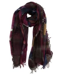 Faliero Sarti - Purple Printed Frayed Edge Scarf - Lyst
