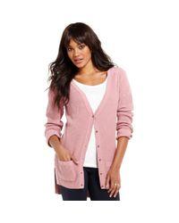 Maison Jules - Pink Long Sleeve Waffleknit Cardigan - Lyst