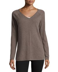 Neiman Marcus | Gray V-neck Cashmere Pullover | Lyst
