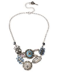 Betsey Johnson | Metallic Silver-Tone Crystal Skull And Lock Charm Frontal Necklace | Lyst