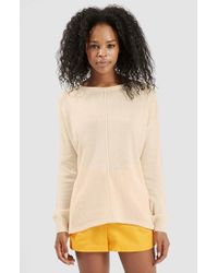 TOPSHOP | Natural Rib Panel Sweater | Lyst