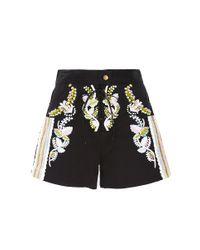 Cynthia Rowley - Black Embroidered Twill Shorts - Lyst