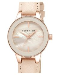 Anne Klein | Pink Round Leather Strap Watch | Lyst