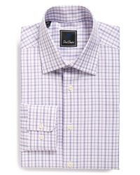 David Donahue | Purple Traditional Fit Check Dress Shirt for Men | Lyst