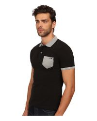 Armani Jeans | Black Cotton Polo W/ Contrast Chest Pocket for Men | Lyst