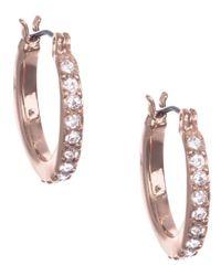 Anne Klein | Metallic Rose Gold Crystal Hoop Earrings | Lyst