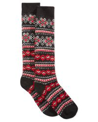 Hue | Black Women's Fairisle Knee Socks | Lyst