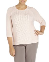 BB Dakota | Pink Plus Size Cable Sweater | Lyst