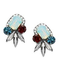 Deepa Gurnani | Metallic Fiesta Bonita Nappa Leather And Crystal Cluster Stud Earrings | Lyst