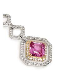 CZ by Kenneth Jay Lane - Pink 18k Gold Plated Rim Asscher Cut Cubic Zirconia Earrings - Lyst
