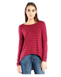 Michael Stars | Purple Stripe Hi Low Long Sleeve Tee With Split Back Detail | Lyst
