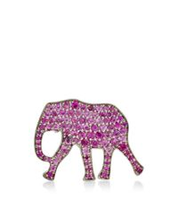 Marc Alary - 18K White Gold Elephant Pendant With Pink Sapphire Pave - Lyst