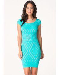 Bebe - Blue Tribeca Lace Dress - Lyst