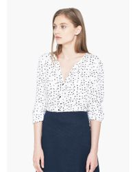 Mango | White Printed Flowy Shirt | Lyst