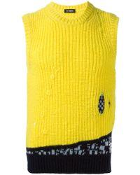 Raf Simons - Yellow Sleeveless Sweater - Lyst