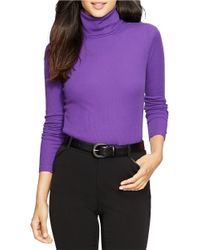 Lauren by Ralph Lauren | Purple Petite Elbow-patch Cotton Turtleneck | Lyst