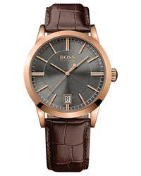 BOSS - Men's Boss Black Brown Leather Strap Watch 22mm 1513131 for Men - Lyst