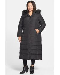 DKNY | Black Down & Feather Fill Maxi Coat With Faux Fur Trim | Lyst