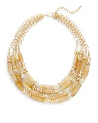 Saks Fifth Avenue - Metallic Multi-strand Bead & Chain Necklace - Lyst