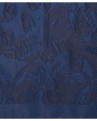 Alexander McQueen - Blue Navy Skull Silk Jacquard Pocket Square for Men - Lyst