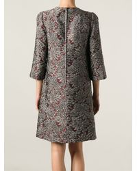 Dolce & Gabbana - Red Floral Jacquard Dress - Lyst