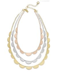 kate spade new york | Multicolor Tri-tone Scalloped Three-row Necklace | Lyst