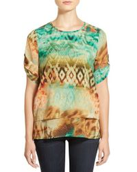Chaus - Green 'harvest Daydream' Print Tiered Roll Sleeve Blouse - Lyst