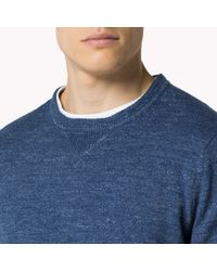 Tommy Hilfiger | Blue Cotton Blend Crew Neck Sweater for Men | Lyst
