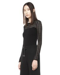Alexander Wang - Black Circular Hole Long Sleeve Top - Lyst