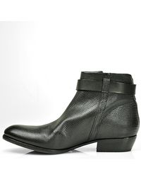 275 Central | Black Leather Zipper Bootie | Lyst