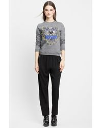KENZO - Gray Embroidered Tiger Cotton Sweatshirt - Lyst
