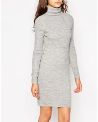 Noisy May Tall - Gray Knitted Dress With Roll Neck - Lyst