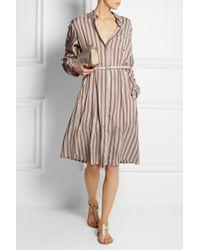 Rochas | Natural Oversized Striped Brushedsilk Shirt Dress | Lyst