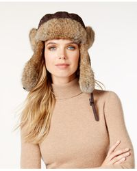 Surell | Brown Rabbit Fur Trim Visor Quilted Trooper Hat | Lyst