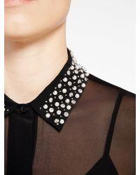 DKNY - Black Embellished Collared Shirt - Lyst