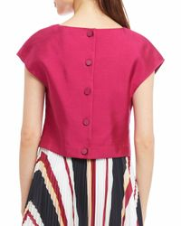 Raoul - Red Short-sleeve Wool-silk Top - Lyst