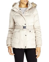 DKNY | Natural Belted Faux Fur Trim Down Coat | Lyst