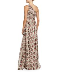 Carolina Herrera - Multicolor One-shoulder Draped Gown - Lyst