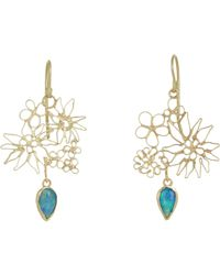 Judy Geib - Green Opal & Gold Floral Filigree Earrings - Lyst
