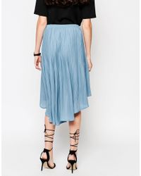 Pop Cph - Blue Pleated Georgette Skirt - Lyst