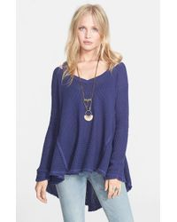 Free People | Blue 'moonshine V' Cold Shoulder Sweater | Lyst