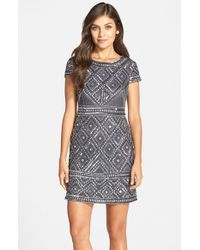 Adrianna Papell | Gray Beaded Mesh Sheath Dress | Lyst