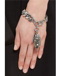 Givenchy - Metallic Bracelet In Palladium-Tone Brass With Pyrite Pendant - Lyst