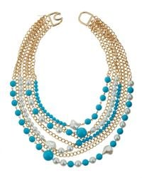 Kenneth Jay Lane | Blue Multi-row Turquoise-hue & Pearly Bead Necklace | Lyst