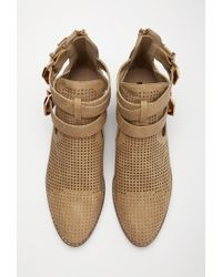 Forever 21 | Brown Perforated Faux Leather Booties | Lyst