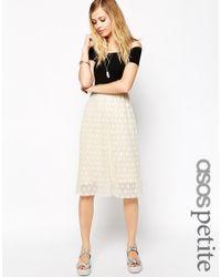 ASOS - Black Bardot Midi Skater Dress With Spot Pleated Lace - Lyst