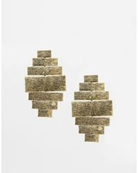 ASOS | Metallic Bricks Chandelier Earrings | Lyst
