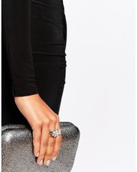 Lipsy - Metallic Crystal Stretch Ring - Lyst